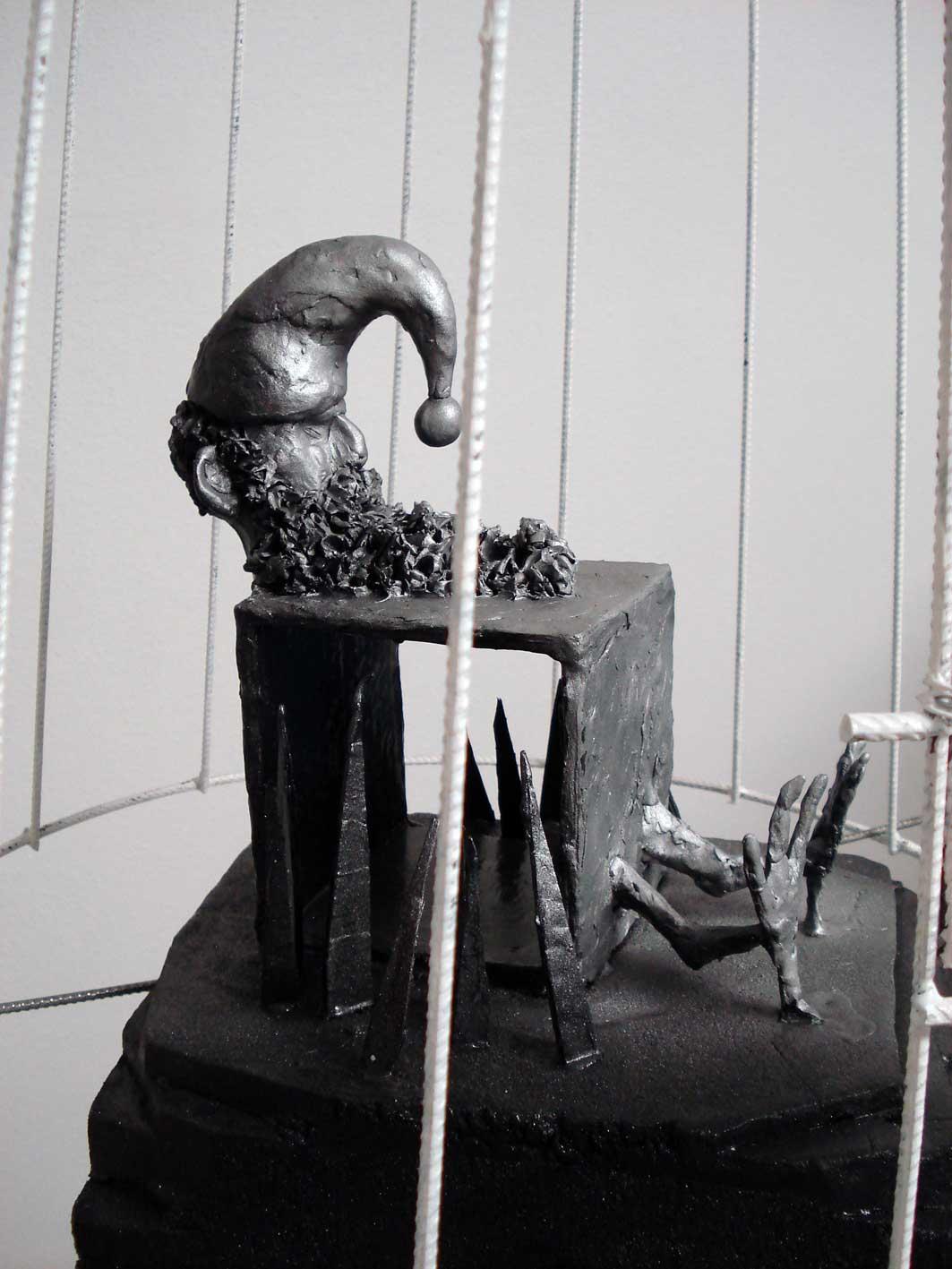 Stefan Inauen Falsche Lampe 2008 Styrophorm, Wachs, Leuchtkörper, ø55cm x 170cm