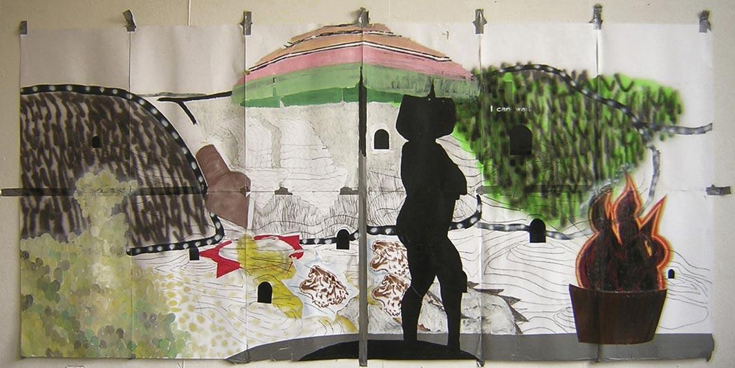 Stefan Inauen i can wait 1.1 2004 Mischtechnick auf Papier 420 x 200cm